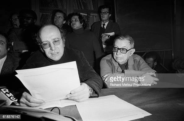 Writer and philosopher JeanPaul Sartre and attorney Klaus Croissant give a press conference in Paris to discuss leftist Andreas Baader's imprisonment...