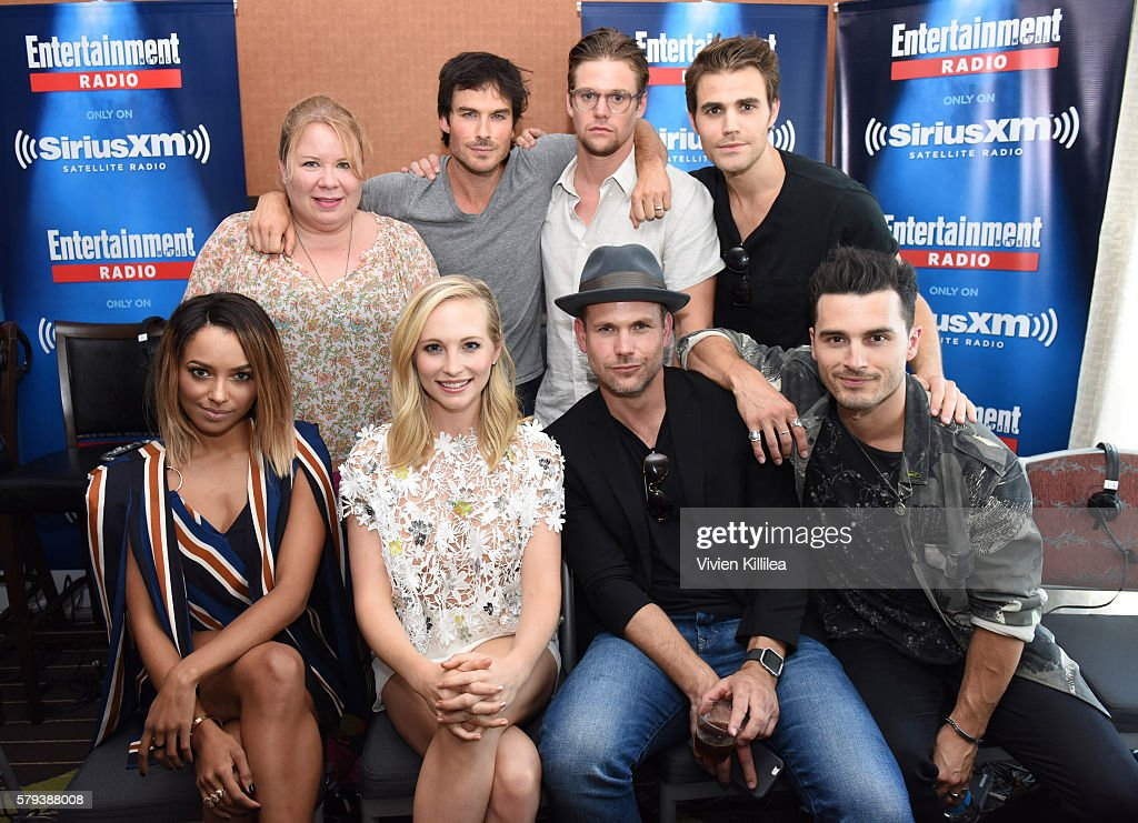 Writer and producer Julie Plec and actors Ian Somerhalder, Zach Roerig, Paul Wesley, Kat Graham, Candice King, Matt Davis and Michael Malarkey attend SiriusXM's Entertainment Weekly Radio Channel Broadcasts From Comic-Con 2016 at Hard Rock Hotel San Diego on July 22, 2016 in San Diego, California.