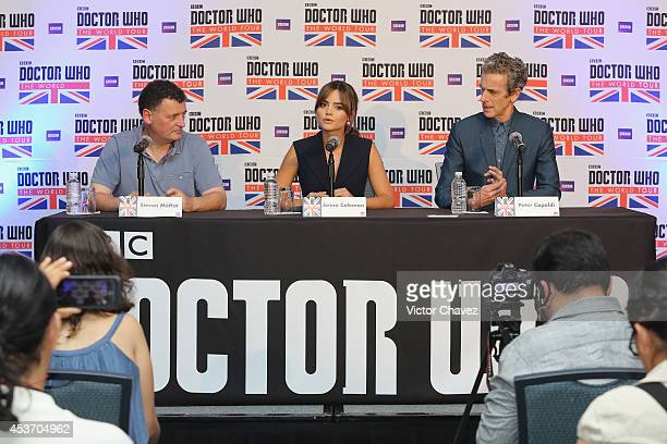 Writer and producer Steven Moffat actress Jenna Coleman and actor Peter Capaldi attend the Doctor Who The World Tour Mexico City press conference at...