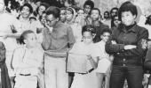 Writer and social activist Dick Gregory with a crowd New Jersey November 2 1968