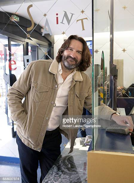 Writer and TV presenter Frederic Beigbeder is photographed for Madame Figaro on April 29 2016 at Etoile SaintGermain cinema in Paris France PUBLISHED...