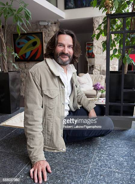 Writer and TV presenter Frederic Beigbeder is photographed for Madame Figaro on April 29 2016 at La Louisiane Hotel in Paris France PUBLISHED IMAGE...