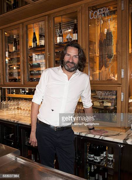 Writer and TV presenter Frederic Beigbeder is photographed for Madame Figaro on April 29 2016 at Le Freddy's Bar in Paris France PUBLISHED IMAGE...