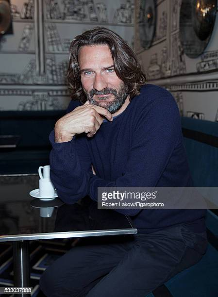 Writer and TV presenter Frederic Beigbeder is photographed for Madame Figaro on April 29 2016 at Montana in Paris France PUBLISHED IMAGE CREDIT MUST...
