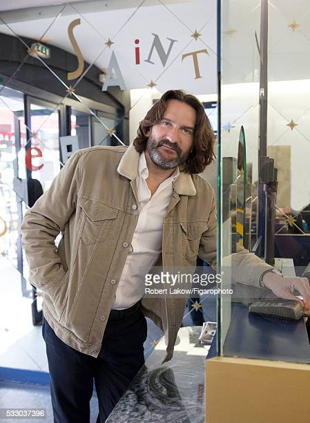 Writer and TV presenter Frederic Beigbeder is photographed for Madame Figaro on April 29 2016 at Etoile SaintGermain cinema in Paris France CREDIT...