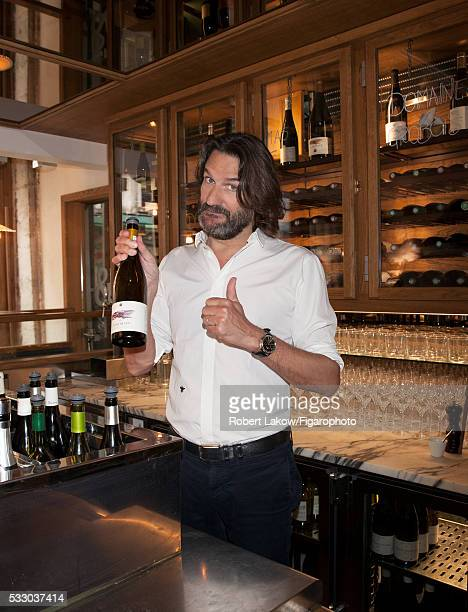 Writer and TV presenter Frederic Beigbeder is photographed for Madame Figaro on April 29 2016 at Le Freddy's Bar in Paris France CREDIT MUST READ...