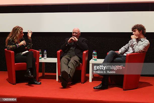 Writer Andrea Camilleri and actor Michele Riondino speak on stage during a Q A session at the 5th International Rome Film Festival at Auditorium...