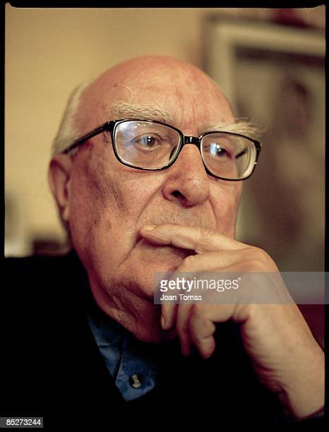 Writer Andrea Camilleri poses for a portrait shoot for El Pais in Rome on July 2 2001