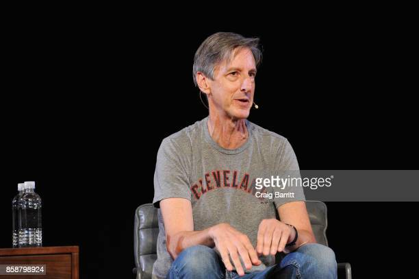 Writer Andy Borowitz speaks onstage during panel PTSD with Andy Borowitz and Friends at New York Society for Ethical Culture on October 7 2017 in New...