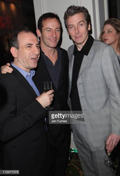 Writer Armando lannucci actor Jason Isaacs and actor Peter Capaldi attend the Jameson Empire Awards at the Grosvenor House Hotel on March 29 2009 in...