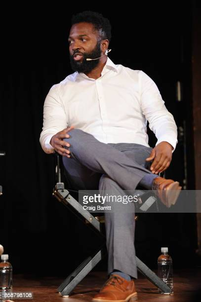 Writer Baratunde Thurston speaks onstage during panel PTSD with Andy Borowitz and Friends at New York Society for Ethical Culture on October 7 2017...