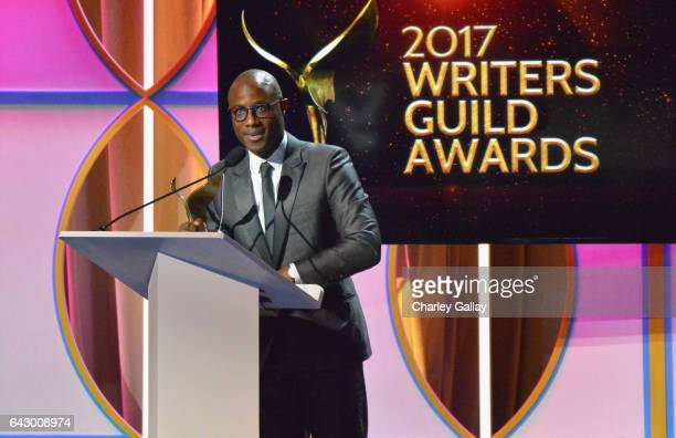 Writer Barry Jenkins accepts the Original Screenplay Award for 'Moonlight' onstage during the 2017 Writers Guild Awards LA Ceremony at The Beverly...