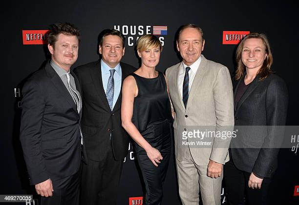Writer Beau Willimon Netflix chief content officer Ted Sarandos actress Robin Wright executive producer/actor Kevin Spacey and Netflix Vice president...