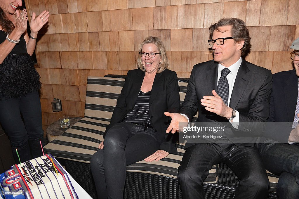 Writer Becky Johnston and actor Colin Firth attend the after party for the premiere of Cinedigm's 'Arthur Newman' at on April 18, 2013 in Hollywood, California.