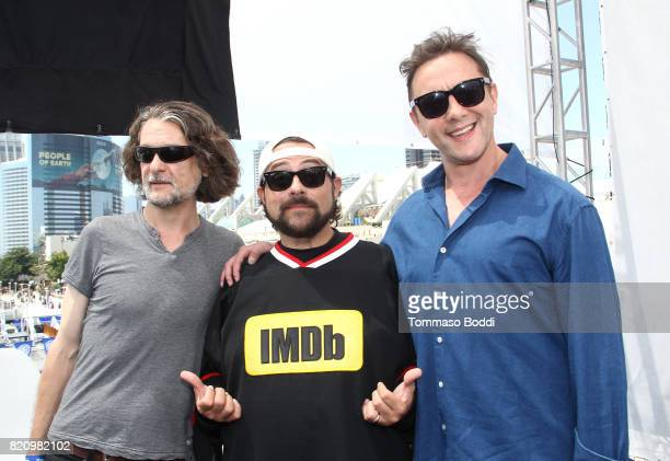 Writer Ben Edlund host Kevin Smith and actor Peter Serafinowicz on the #IMDboat at San Diego ComicCon 2017 at The IMDb Yacht on July 22 2017 in San...