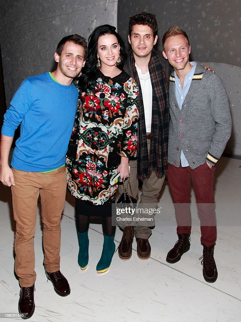Writer Benj Pasek, singers <a gi-track='captionPersonalityLinkClicked' href=/galleries/search?phrase=Katy+Perry&family=editorial&specificpeople=599558 ng-click='$event.stopPropagation()'>Katy Perry</a>, <a gi-track='captionPersonalityLinkClicked' href=/galleries/search?phrase=John+Mayer&family=editorial&specificpeople=201930 ng-click='$event.stopPropagation()'>John Mayer</a> and writer Justin Paul visit the cast of Broadway's 'A Christmas Story, The Musical' at the Lunt-Fontanne Theatre on December 12, 2012 in New York City.