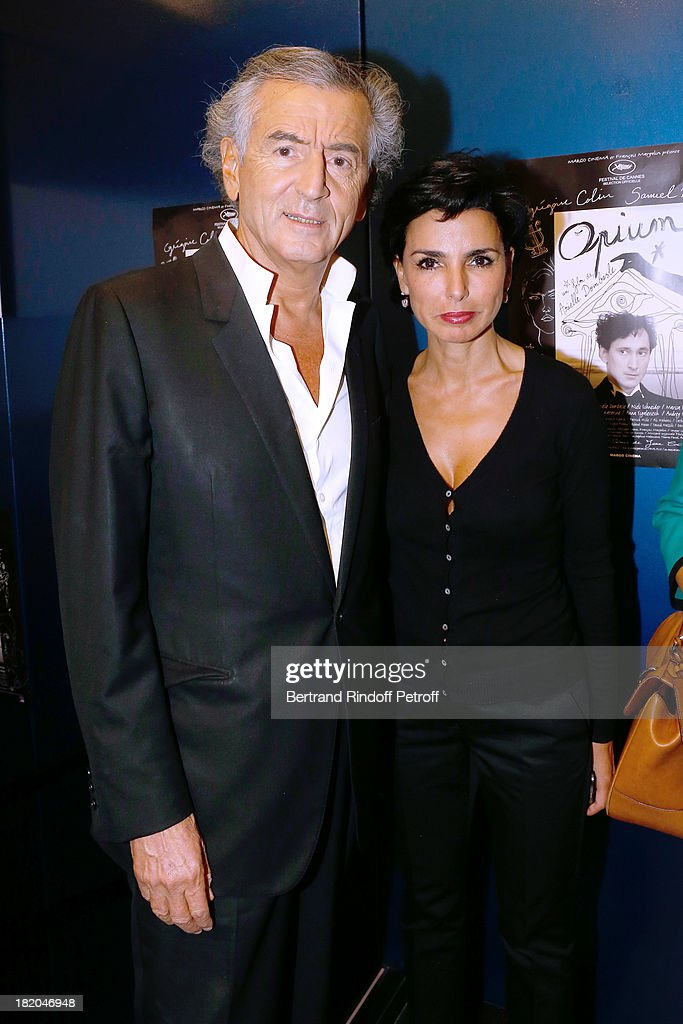 Writer Bernard-Henri Levy and politician <a gi-track='captionPersonalityLinkClicked' href=/galleries/search?phrase=Rachida+Dati&family=editorial&specificpeople=4111042 ng-click='$event.stopPropagation()'>Rachida Dati</a> attend 'Opium' movie Premiere, held at Cinema Saint Germain in Paris on September 27, 2013 in Paris, France.