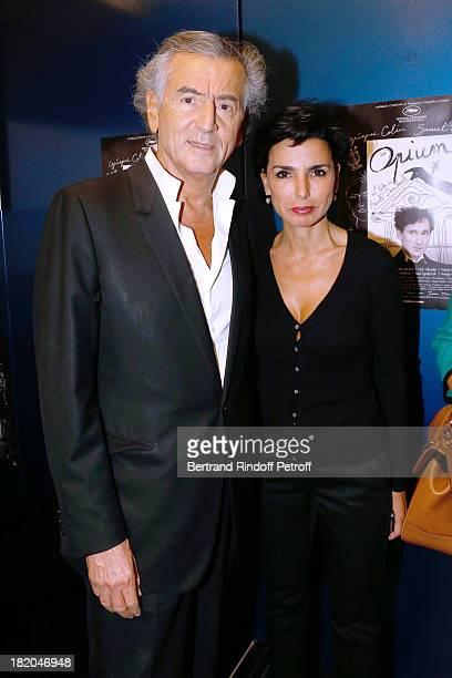 Writer BernardHenri Levy and politician Rachida Dati attend 'Opium' movie Premiere held at Cinema Saint Germain in Paris on September 27 2013 in...