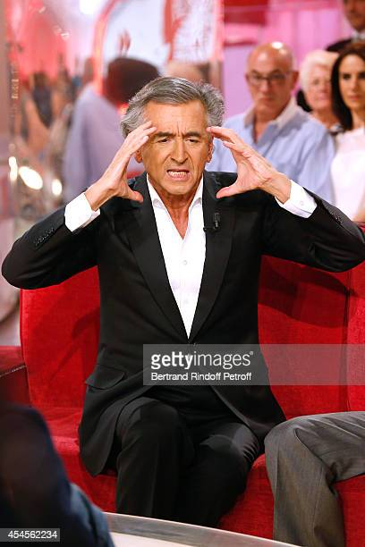 Writer BernardHenri Levy present his theater piece 'Hotel Europe' during the 'Vivement Dimanche' French TV Show at Pavillon Gabriel on September 3...