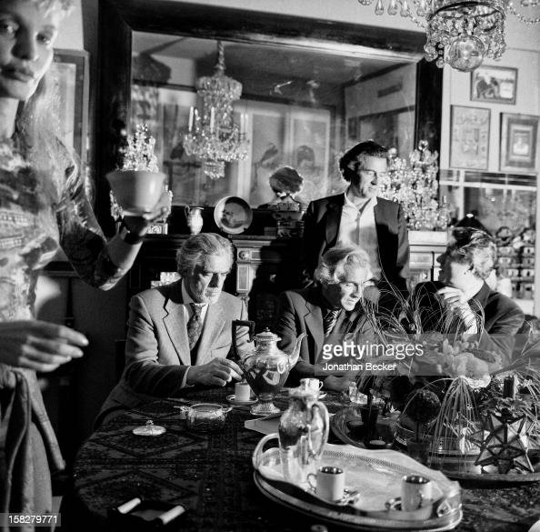 Writer BernardHenri Levy wife/actress Arielle Dombasle writer Gilles Hertzog editor JeanPaul Enthoven and painter Jacques Martinez are photographed...