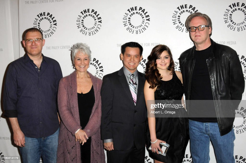 Writer Bob Goodman, casting director Andrea Romano, director Jay Oliva, actress <a gi-track='captionPersonalityLinkClicked' href=/galleries/search?phrase=Ariel+Winter&family=editorial&specificpeople=715954 ng-click='$event.stopPropagation()'>Ariel Winter</a> and producer Bruce Timm arrive for The Paley Center for Media & Warner Bros. Home Entertainment Premiere of 'Batman: The Dark Knight Returns, Part 2' held at The Paley Center for Media on January 28, 2013 in Beverly Hills, California.