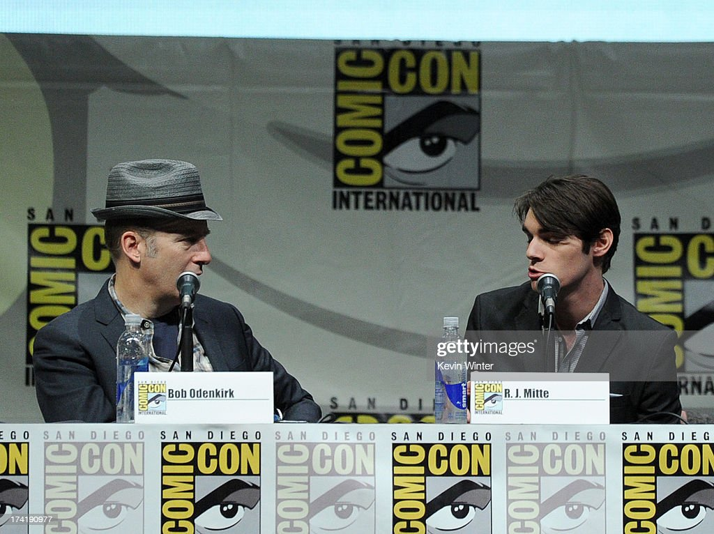 Writer Bob Odenkirk (L) and actor RJ Mitte speak onstage at the 'Breaking Bad' panel during Comic-Con International 2013 at San Diego Convention Center on July 21, 2013 in San Diego, California.