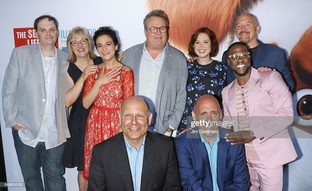 Writer Brian Lynch, producer Janet Healy, actress Jenny Slate, producer Chris Meledandri, actor Eric Stonestreet, director Chris Renaud, actress Ellie Kemper, actors Kevin Hart and Louis C.K. attend the 'Secret Life Of Pets' New York premiere on June 25, 2016 in New York City.