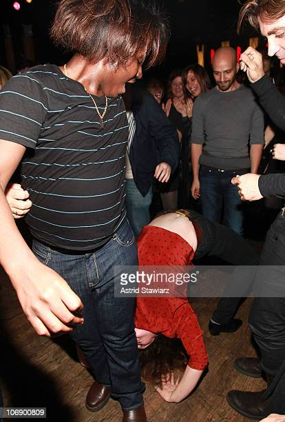 Writer Charles Prophet dances with actress Gaby Hoffmann at the 10th annual production of the 24 Hour Plays on Broadway presented by MONTBLANC after...
