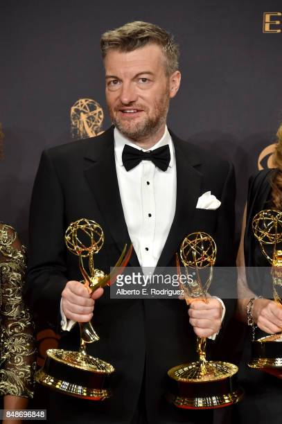 Writer Charlie Brooker winner of Outstanding Television Movie for 'Black Mirror' poses in the press room during the 69th Annual Primetime Emmy Awards...