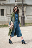 Writer Chloe Sachdev wears a Closed jacket trousers and shirt Proenza Schouler shoes and Miu Miu bag on day 5 of Paris Collections Women on March 07...