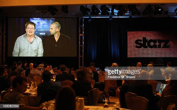 Writer Chris Chibnall and actor Joseph Fiennes speak during the 'Camelot' panel during the Starz portion the 2010 Summer TCA press tour held at the...