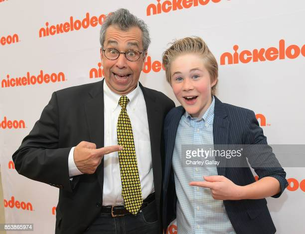 Writer Chris Grabenstein and actor Casey Simpson at Nickelodeon's 'Escape From Mr Lemoncello's Library' premiere event at Paramount Studios on...