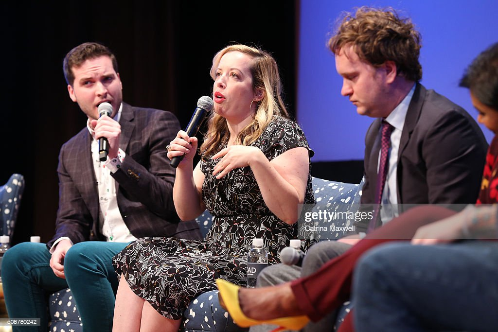 Writer Chris Schleicher, Writer Lang Fisher, and Writer Matt Warburton speak at 'The Mindy Project' event during aTVfest 2016 presented by SCAD on February 6, 2016 in Atlanta, Georgia.