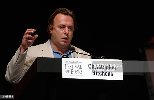 Writer Christopher Hitchens participates in a panel discussion at the 9th Annual LA Times Festival of Books on April 25 2004 at UCLA in Westwood...
