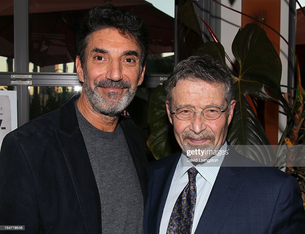 Writer <a gi-track='captionPersonalityLinkClicked' href=/galleries/search?phrase=Chuck+Lorre&family=editorial&specificpeople=2307242 ng-click='$event.stopPropagation()'>Chuck Lorre</a> (L) and Warner Bros. Entertainment Chairman/CEO <a gi-track='captionPersonalityLinkClicked' href=/galleries/search?phrase=Barry+Meyer&family=editorial&specificpeople=221705 ng-click='$event.stopPropagation()'>Barry Meyer</a> attend a reception to celebrate the release of Lorre's 'What Doesn't Kill Us Makes Us Bitter' at Mixology101 & Planet Dailies on October 24, 2012 in Los Angeles, California.