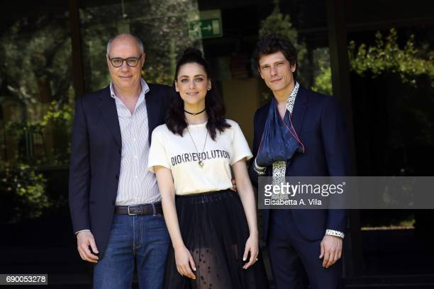 Writer Claudio Corbucci Miriam Leone and Matteo Martari attend a photocall for 'Non Uccidere' on May 30 2017 in Rome Italy