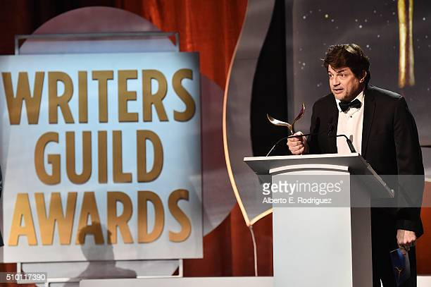 Writer Clay Tarver accepts the Episodic Comedy award for 'Silicon Valley' onstage during the 2016 Writers Guild Awards at the Hyatt Regency Century...
