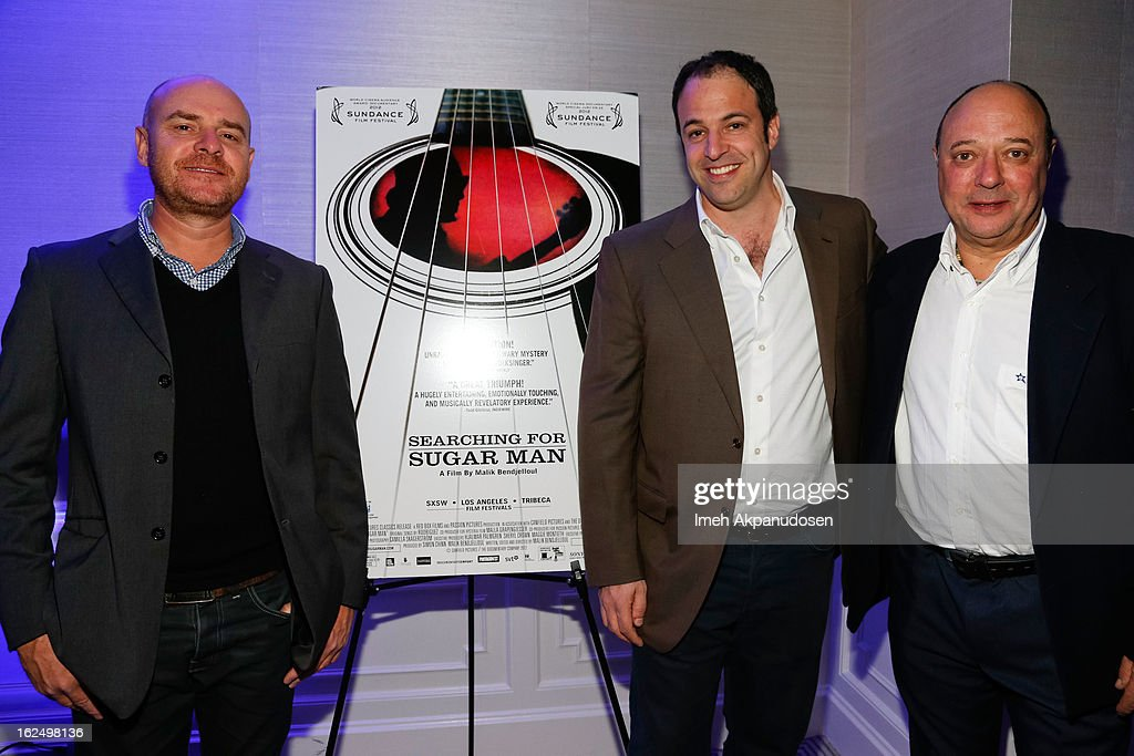 Writer Craig Bartholomew-Strydom, producer Simon Chinn, and writer Stephen 'Sugar' Segerman attend the Sony Pictures Classics Pre-Oscar Dinner at The London Hotel on February 23, 2013 in West Hollywood, California.