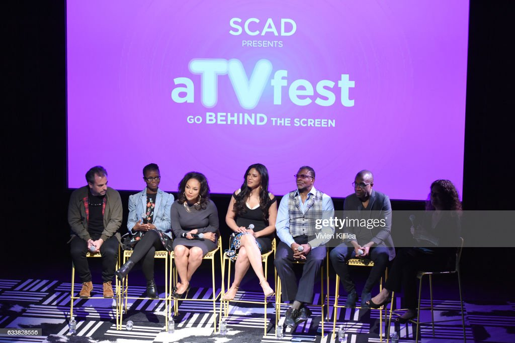 Writer Craig Wright, writer Erica L. Anderson, actress Lynn Whitfield, actress Merle Dandridge, actor Keith David, director Clement Virgo, Variety Executive Editor, Television, Debra Birnbaum speak on stage during Q&A for 'Greenleaf' on Day Three of aTVfest 2017 presented by SCAD at SCADshow, Stage 2 on February 4, 2017 in Atlanta, Georgia.