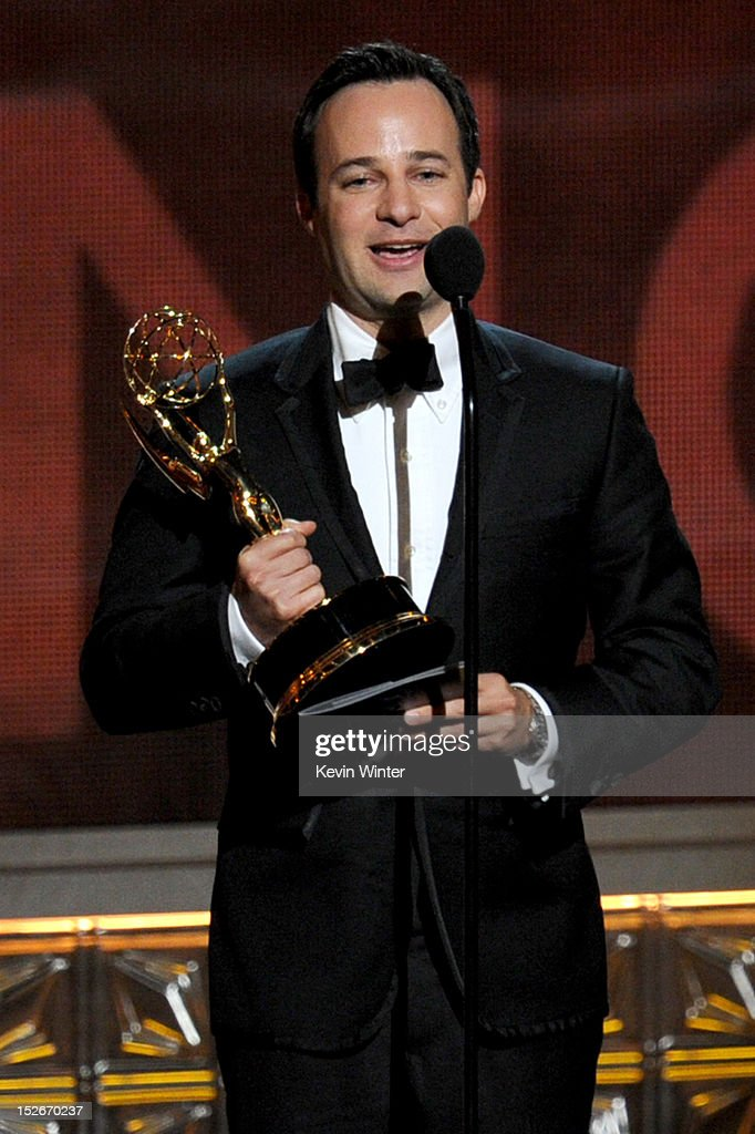 Writer Danny Strong accepts the Outstanding Writing for a Miniseries, Movie, or Dramatic Special Award for 'Game Change' onstage during the 64th Annual Primetime Emmy Awards at Nokia Theatre L.A. Live on September 23, 2012 in Los Angeles, California.