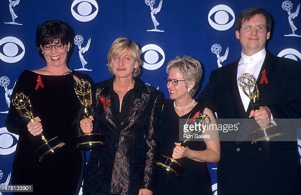 Writer Dava Savel comedienne Ellen DeGeneres writer Tracy Newman and writer Jonathan Stark attend the 49th Annual Primetime Emmy Awards on September...