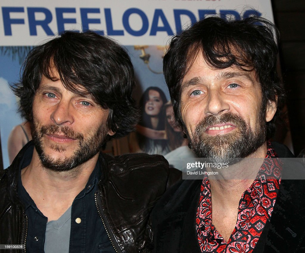 Writer Dave Gibbs (L) and musician Chris Seefried attend the premiere of Salient Media's 'Freeloaders' at Sundance Cinema on January 7, 2013 in Los Angeles, California.