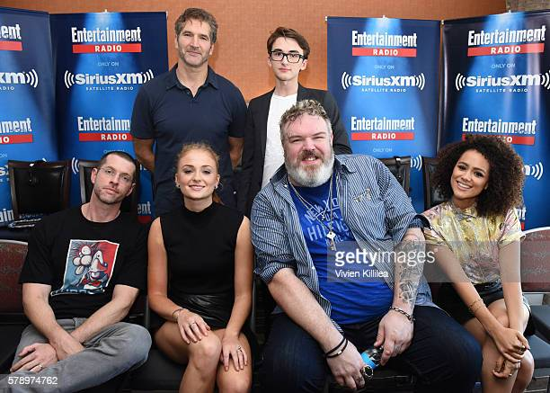 Writer David Benioff actor Isaac Hempstead Wright executive producer DB Weiss and actors Sophie Turner Kristian Nairn and Nathalie Emmanuel attend...