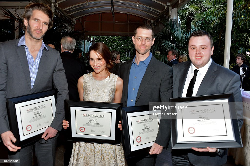 Writer David Benioff, actors Emilia Clarke and John Bradley and writer D. B. Weiss attend the 13th Annual AFI Awards at Four Seasons Los Angeles at Beverly Hills on January 11, 2013 in Beverly Hills, California.