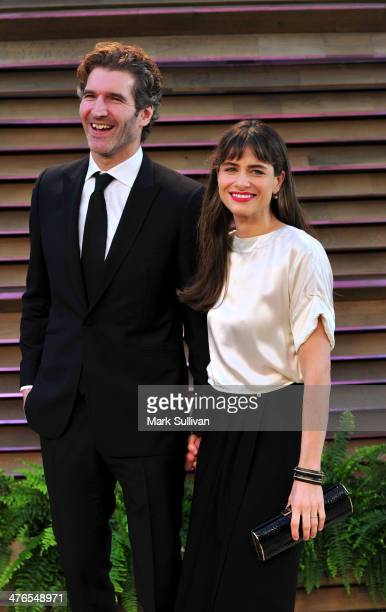 Writer David Benioff and actress Amanda Peet attends the 2014 Vanity Fair Oscar Party hosted by Graydon Carter on March 2 2014 in West Hollywood...