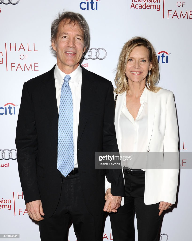 Writer David E. Kelley and actress Michelle Pfeiffer attend the Television Academy's 23rd Hall of Fame induction gala at Regent Beverly Wilshire Hotel on March 11, 2014 in Beverly Hills, California.