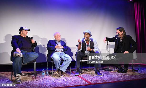 Writer David Hall executive producer Ken Ehrlich TV personality Arsenio Hall and Vice President of the GRAMMY Foundation Scott Goldman speak at Reel...