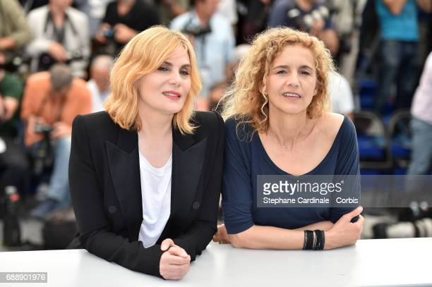 Writer Delphine de Vigan and actress Emmanuelle Seigner attend the 'Based On A True Story' photocall during the 70th annual Cannes Film Festival at...
