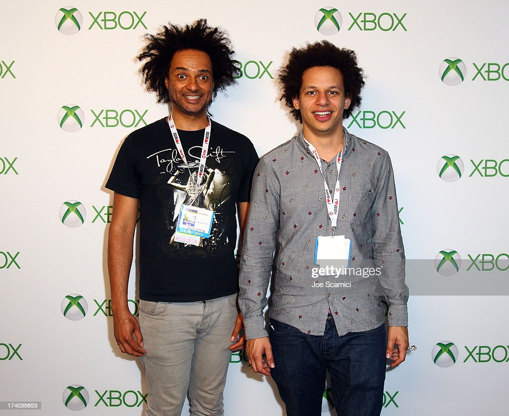 Writer Derrick Beckles and actor Eric Andre play Xbox One at Comic-Con 2013 at the Hard Rock Hotel San Diego on July 19, 2013 in San Diego, California.