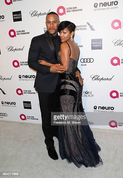 Writer DeVon Franklin and Meagan Good attend the 23rd Annual Elton John AIDS Foundation's Oscar Viewing Party on February 22 2015 in West Hollywood...